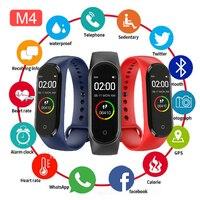 Reloj inteligente M4 para hombre y mujer, pulsera deportiva con control del ritmo cardíaco y de la presión sanguínea, compatible con Android e ios