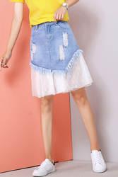 Газовая джинсовая юбка Женская Осенняя Новинка 2018 года, стильная Асимметричная юбка с высокой талией средней длины, кружевная юбка с
