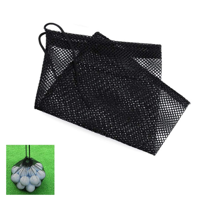 Sports Balls Storage Nylon Mesh Nets Bag Pouch Golf Tennis Hold Up To 45 Balls Holder Golf Closure Training Aid