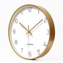 פשוט Creative אמנות זהב אופנה קיר שעון מודרני מחקר בבית אילם שעון אופנה דקורטיבי קוורץ שעון