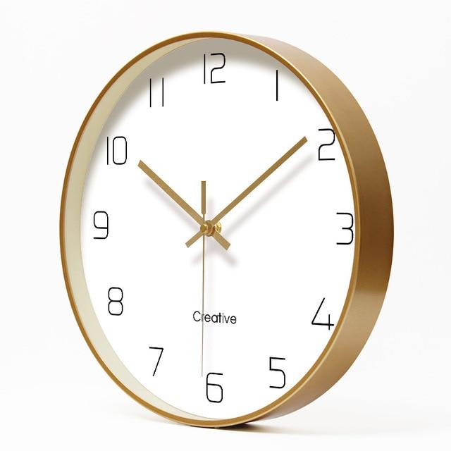 Simple Creative Art Gold Fashion Wall Clock Modern Home Study Mute Clock Fashion Decorative Quartz Clock