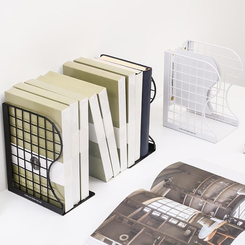 שחור לבן מדף ספרים תומכי ספרים מתכת ספר סטנד מתכוונן חוט רשת מדף פשוט Creative שולחן מגזין ספר מחזיק מעמד