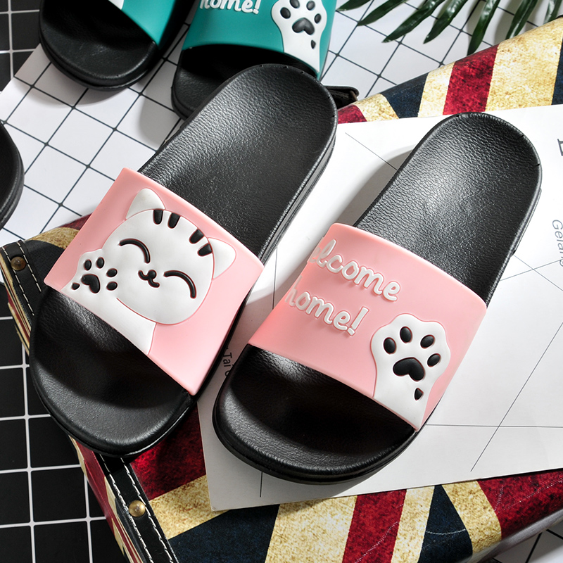 Summer Kids Slippers Girls Cartoon Smiley Beckoning Cat Boys Slippers Big Children Shoes Indoor Flops Parent-child Beach Sandals