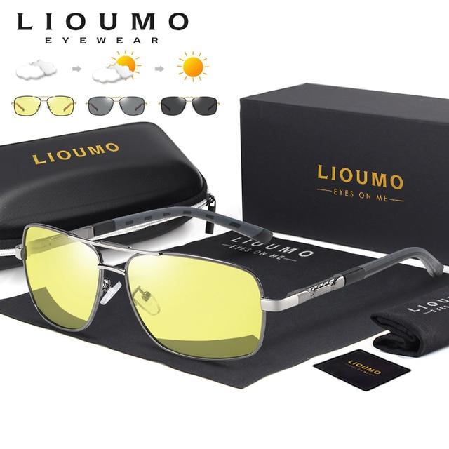Kwadratowe okulary mężczyźni spolaryzowane fotochromowe dzień bezpieczeństwo w nocy jazdy okulary kobiety HD kwadratowe okulary gafas de sol hombre