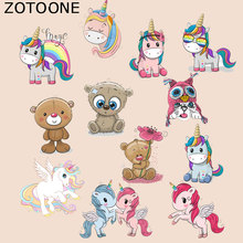 ZOTOONE Cartoon Unicorn Patches Bear Cat Stickers Iron on Transfers for Clothes T-shirt Heat Transfer Accessory Appliques G