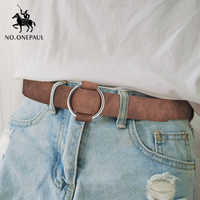 Não. onepaul genuína qualidade senhoras moda mais recente agulha-livre de metal fivela redonda cinto jeans selvagem marca de luxo a mulher cinto para