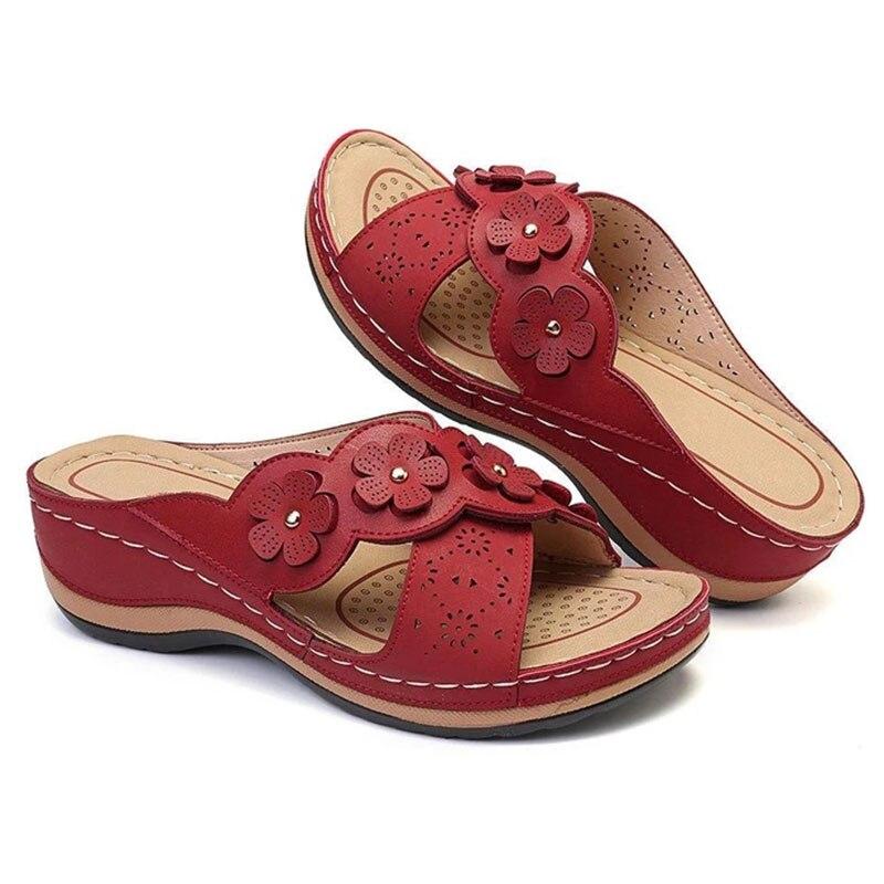 Летние женские шлепанцы; Обувь в гладиаторском стиле с цветочным принтом; Вьетнамки на танкетке; Пляжные шлепанцы; Женские вечерние шлепанцы; Zapatos De Mujer|Тапочки|   | АлиЭкспресс