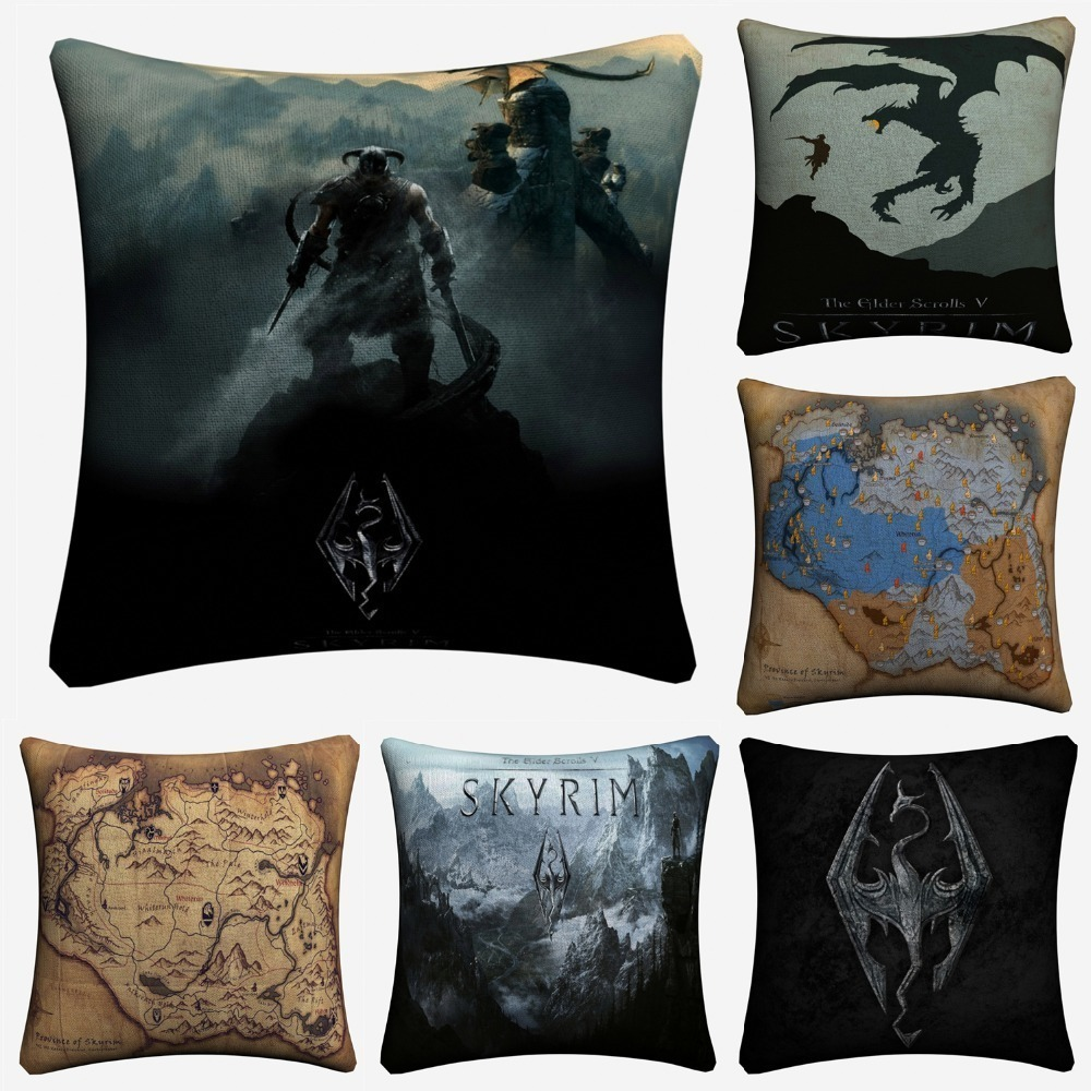 Skyrim The Elder Scrolls Game Decorative Linen Cushion Cover Pillow Case For Sofa 45x45cm Home Decor Throw Pillowcase Almofada image