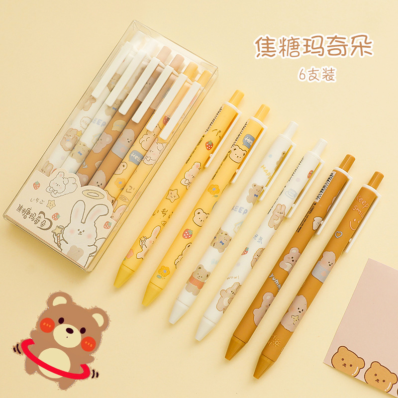 6pcs/Set Press Gel Pens Cartoon Cute Bear 0.5mm Balck Ink Gel Pen Signing Pen Office School Stationery Supply