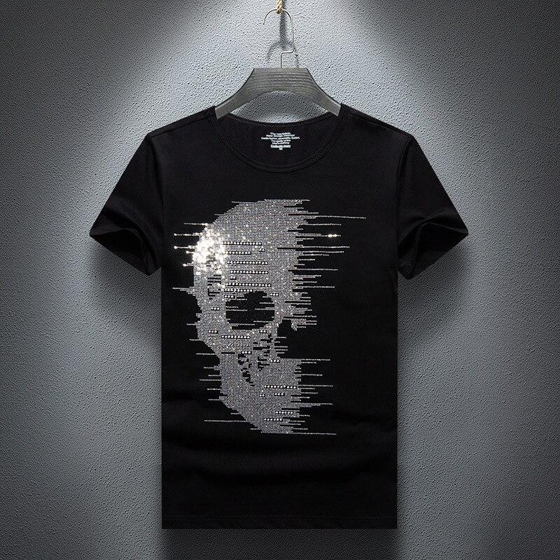 Plus Size 7XL 2019 Skulls Rhinestones T Shirts Men Brand Short Sleeve Fashion Man Streetwear O Neck Slim Modal Cotton Tshirts