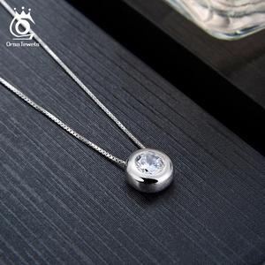 Image 3 - Orsa jóias reais 925 prata mulher redonda pingentes colares de prata esterlina aaa cz clavícula corrente colar jóias femininas sn136