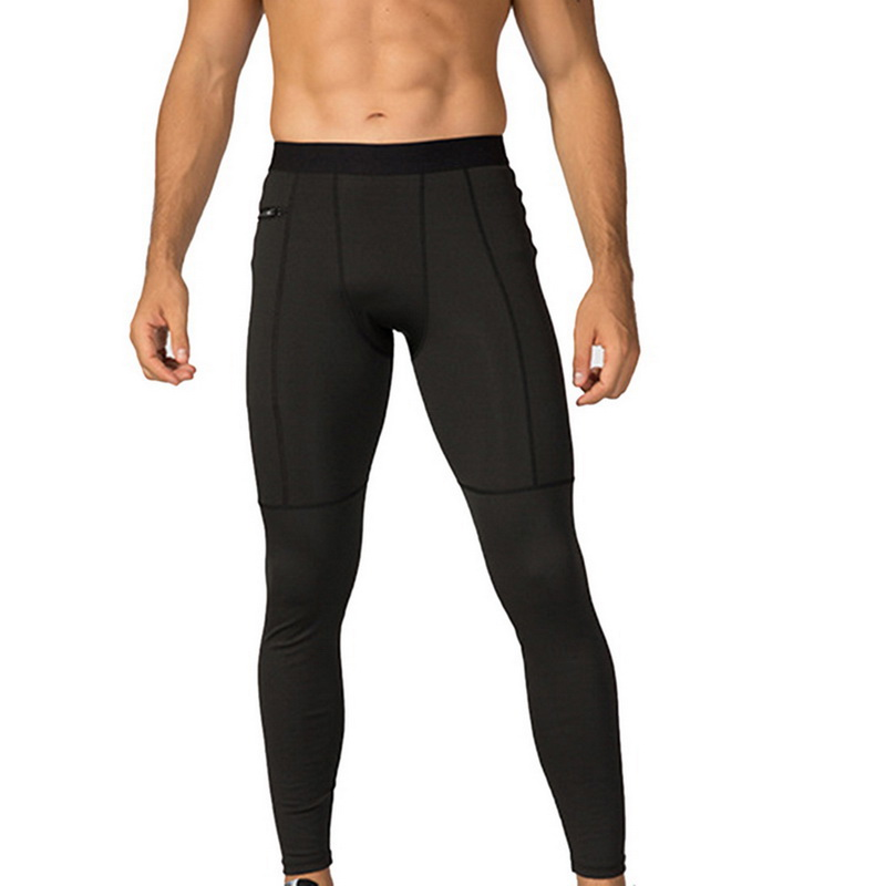Men Running Fittness Pants Tights High Elastic Compression Sports Leggings Quick Dry Length Trousers Jogging Pant