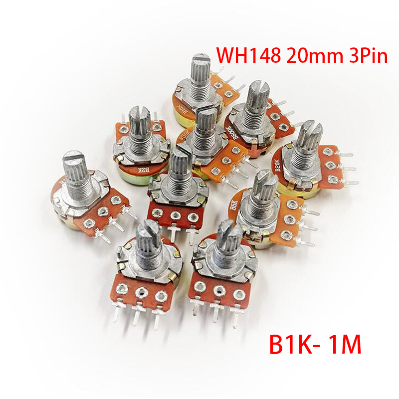 5pcs WH148 3Pin 20 milímetros Potenciômetro B1K B2K B5K B10K B20K B50K B100K B250K B500K B1M 20 10 5 2 1K K K K K K 100K 250K 500K 1 50 M