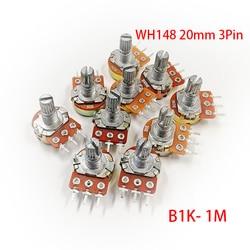 Potenciómetro WH148 de 3 pines y 20mm B1K B2K B5K B10K B20K B50K B100K B250K B500K B1M 1K 2K 5K 10K 20K 50K 100K 250K 500K 1M, 5K