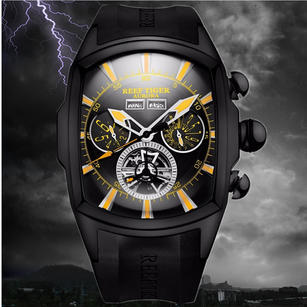 Reef Tiger/RT Large Sport Watches Men Tourbillon Rubber Strap Automatic Luminous Waterproof Watch Relogio Masculino+Box RGA3069