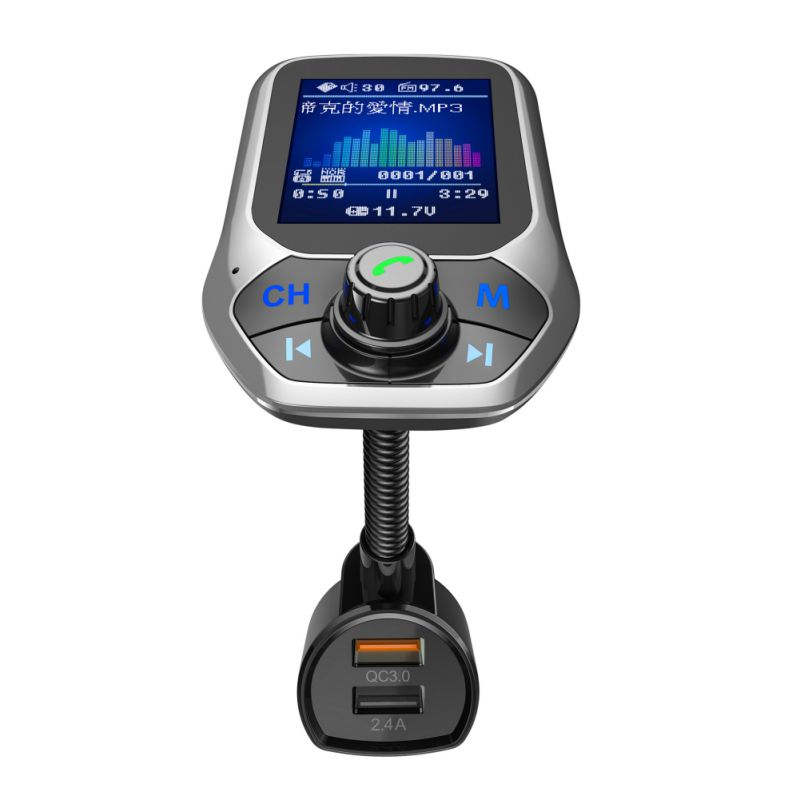 Car 3 USB Ports Quick Charge Handsfree FM Transmitter MP3 Player For Bluetooth 3.0