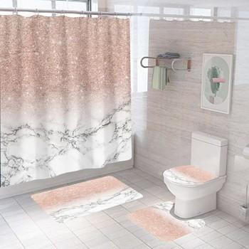 Różowy Gradient marmur zasłona prysznicowa Bling moda z antypoślizgowy dywanik mata kurtyna łazienkowa wodoodporny poliester Home Decor 180 #215 180 tanie i dobre opinie CN (pochodzenie) Europejska Malownicza sceneria Ekologiczne Na stanie 180x180 Bathroom Waterproof Eco-Friendly Quick-drying