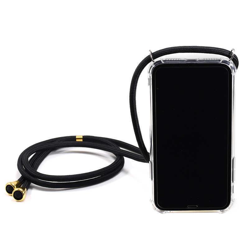 شفاف لينة حافظة هاتف محمول من البولي يوريثان مع الحبل الرقبة حزام حبل الحبل آيفون 6 7 8 plus x xs xr 11 11pro لسامسونج s10