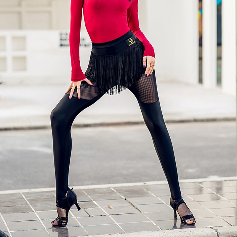 New Women'S Latin Dancing Pant Elastic Leggings Black Fringe Pants Dance Skirt Performance Dance Costume Foot Pants Latin  2966