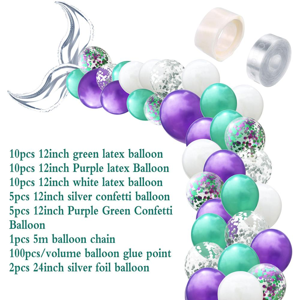 LAPHIL 44pcs Little Mermaid Party Balloons Decoration Mermaid Birthday Party Kids Favors Wedding Event Party Backdrop Supplies Pakistan