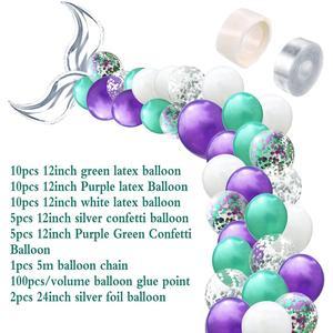 Image 5 - Laphil 44pcs 작은 인어 파티 풍선 장식 인어 생일 파티 어린이 결혼식 이벤트 파티 배경 용품을 선호한다