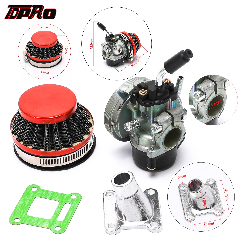 TDPRO 19mm Racing Carburetor + Air Filter For Motorcycle 2 Stroke 49cc 66cc 70cc 80cc Engines Mini ATV Dirt Pocket Bike Go Kart