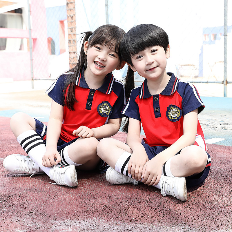 Kindergarten Suit Summer Wear Young STUDENT'S School Uniform England College Style Short Sleeve Set Summer Children Business Att