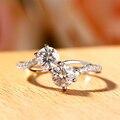 Huitan Classic 4 Claw двойная круглая вырезанная искусственная камень женское Свадебное обручальное кольцо задействовечерние вечеринки деликатные...