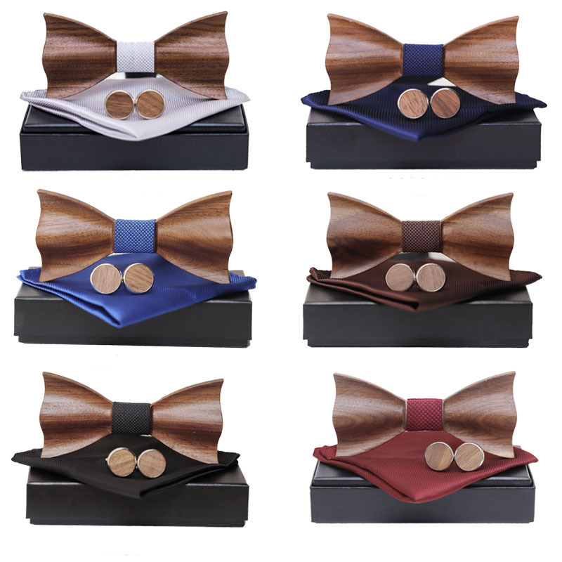 Wooden Bow Tie Handkerchief Cufflinks Set Men's Plaid Bowtie Wood Hollow Carved Cut Out Design With Gift Box Fashion Novelty Tie