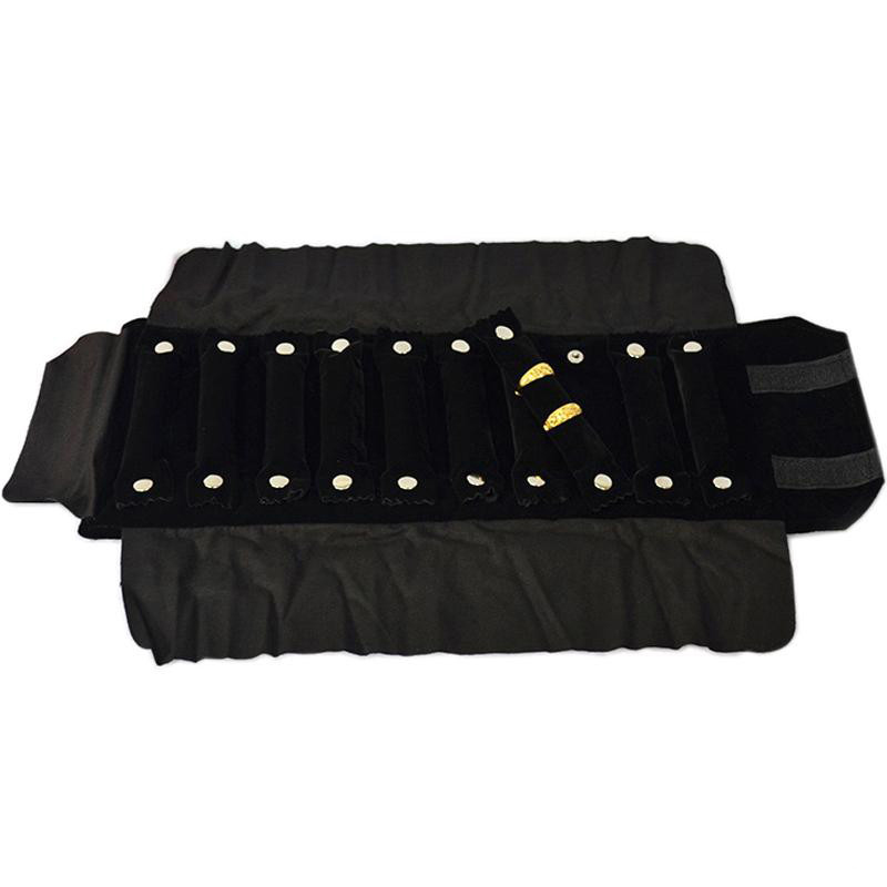 Wholesale Velvet Jewelry Roll Bag Black Ring Earring Necklace Watch Jewelry Storage Organizer Bag Travel Jewelry Carrying Case