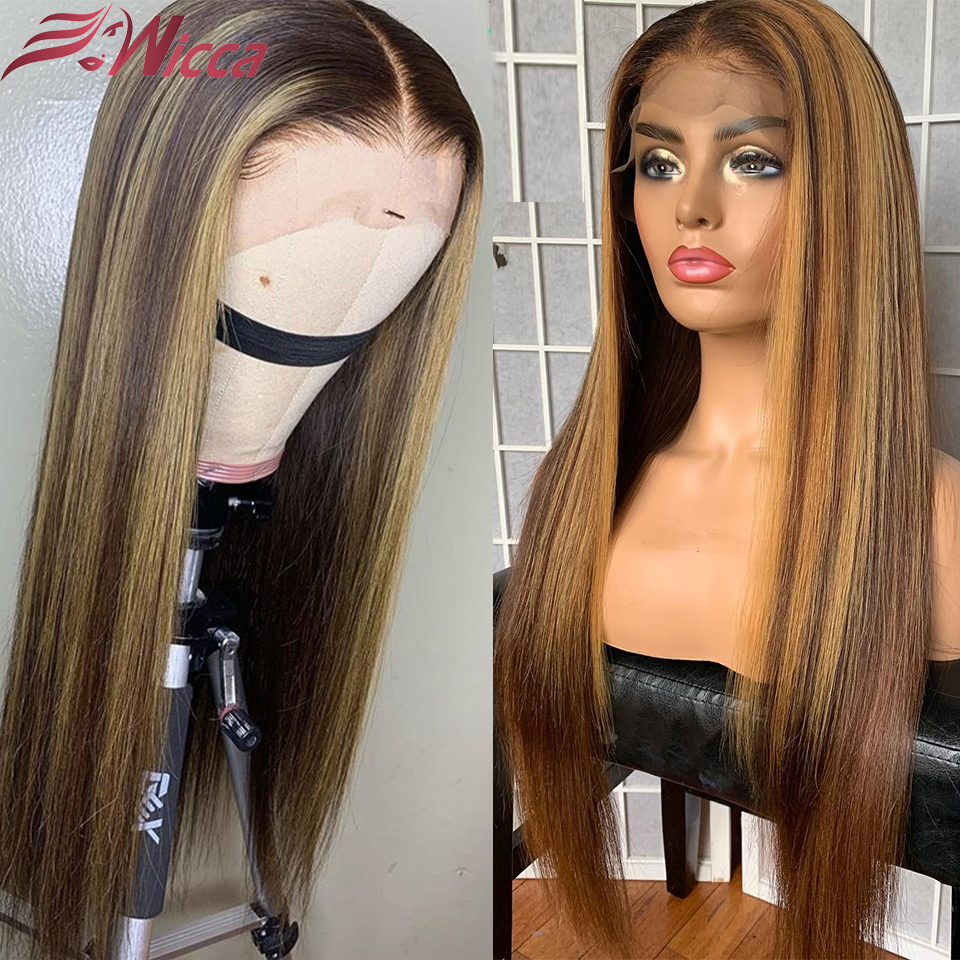 13X6 Lace Front Wigs Highlight Straight Lace Frontal Wig Brazilian Remy Lace Front Human Hair Wig Pre Plucked Wicca