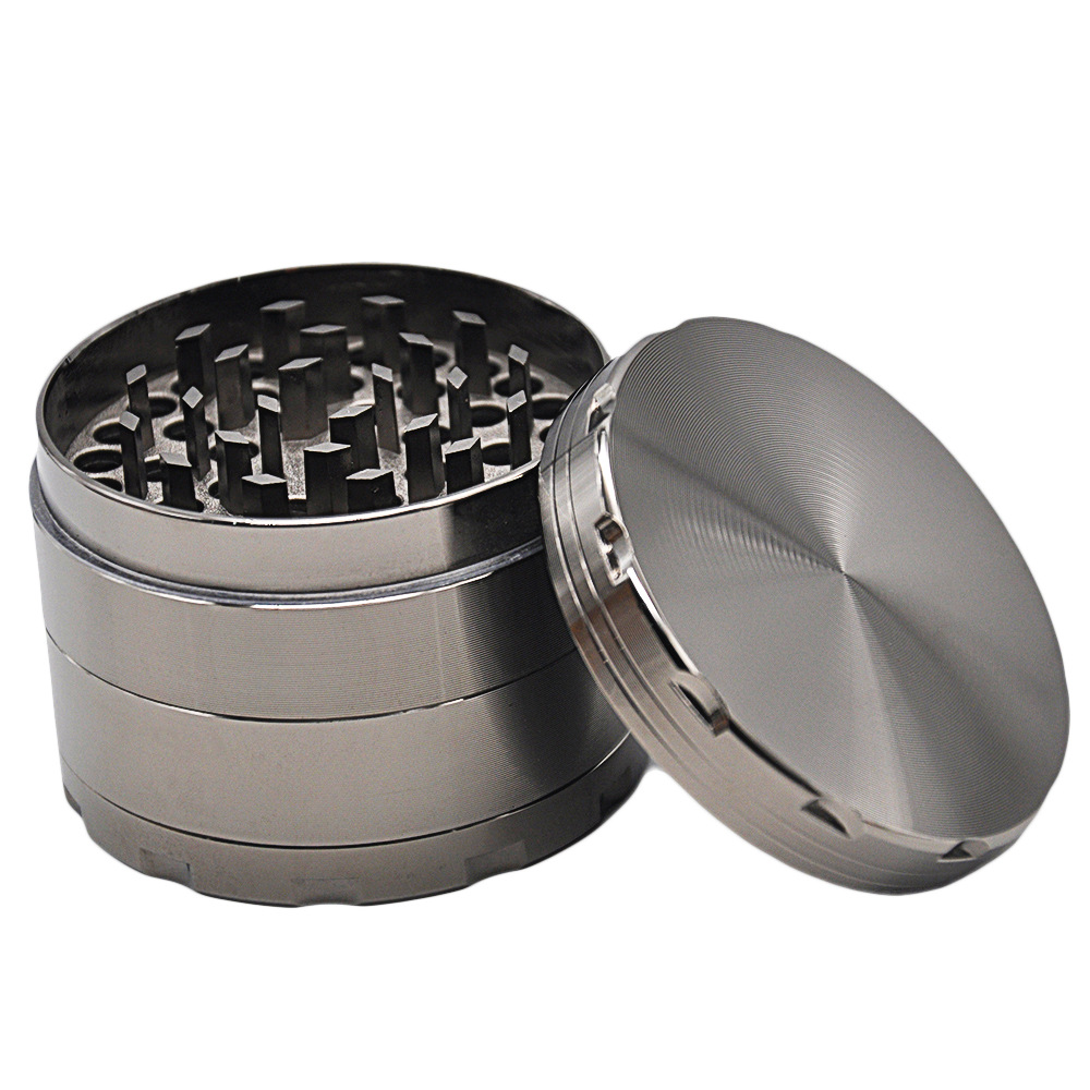 4 Part 56MM Zinc Alloy Metal Herb Grinder Hand Muller Spice Mill Crusher Diamond Teeth
