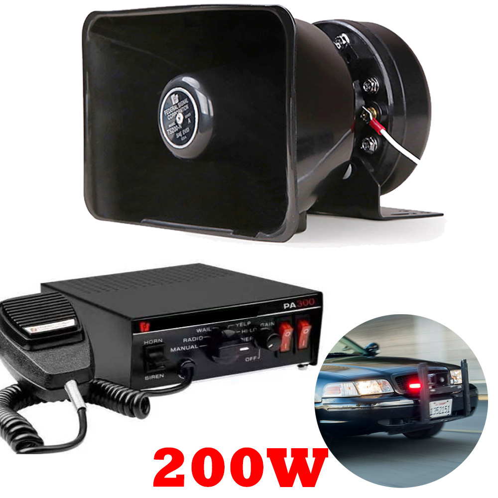 200W 12V 9 звук 150dB аварийного автомобиля сирена предупреждающий динамик полицейская сирена воздуха Стеклярус CJB PA динамик Системы усилитель гу...