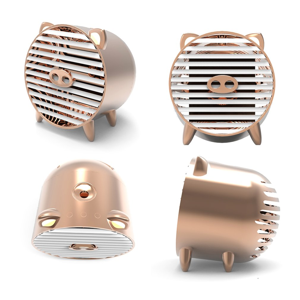 New Generation USB Mini Air Cooler Golden Pig Aromatherapy Anion Small Air Conditioning Spray Humidifier