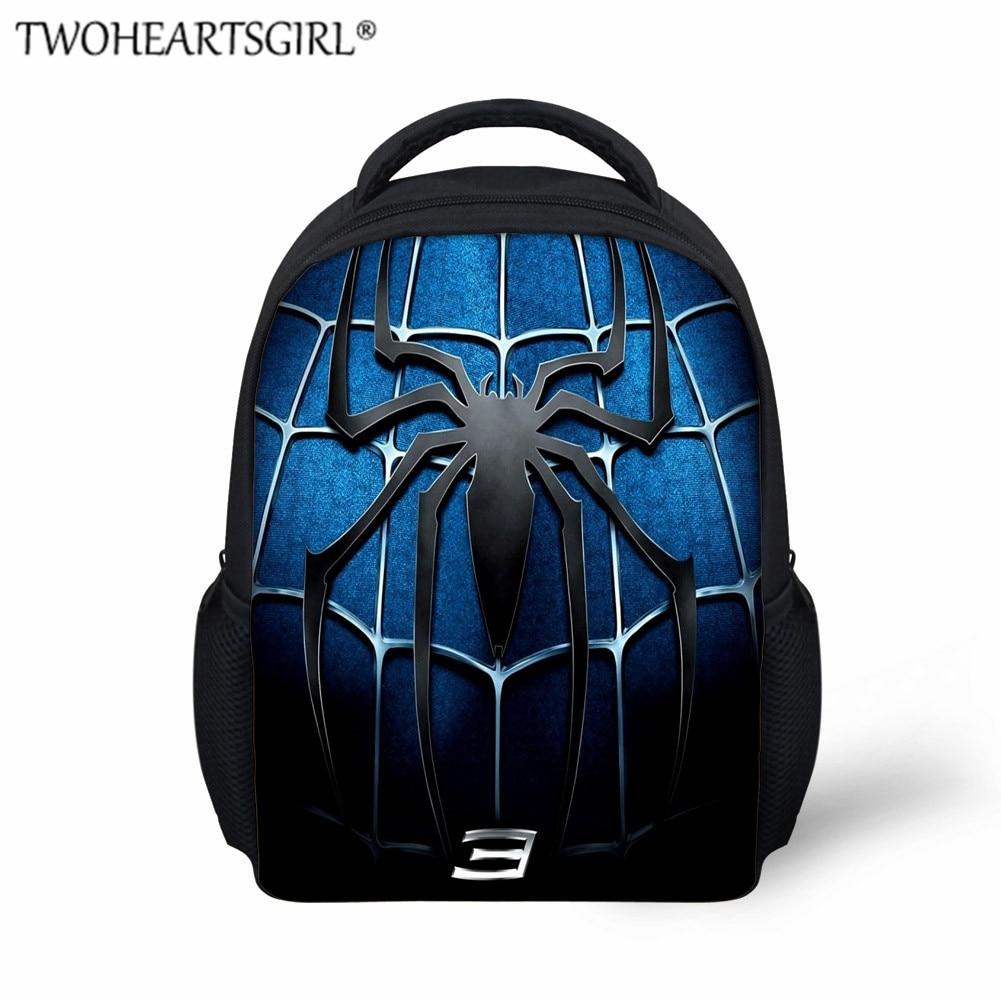 TWOHEARTSGIRL Classic Spiderman Print Kids Schoolbag Kindergarten Boys Girls Backpack Small Baby Toddler Book Bag Bag Packs