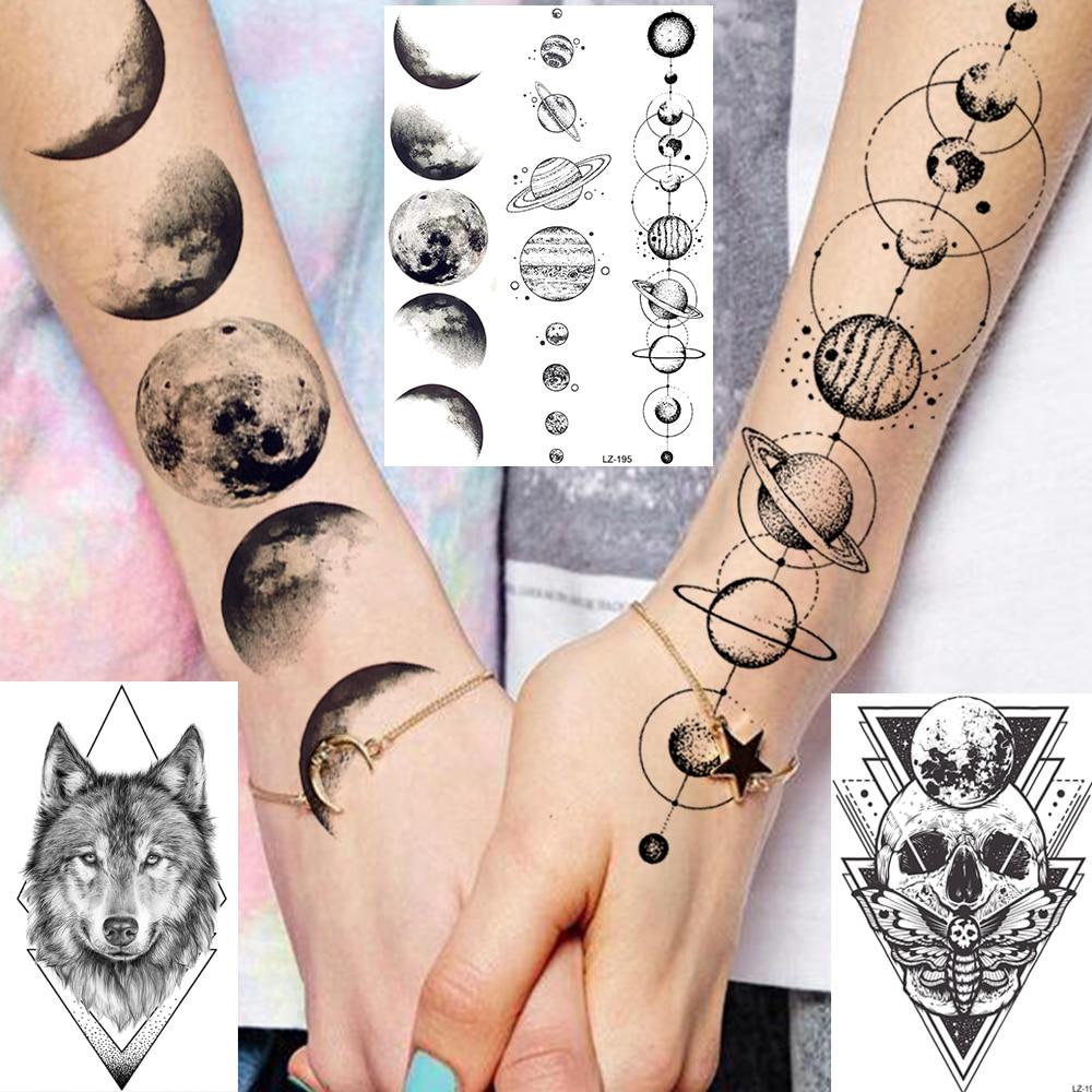Water Transfer 3D Star Black Planet Tree Temporary Tattoo Sticker For Kids Women Men Wolf Lion Tree Tattoos Foream Body Arm Tato