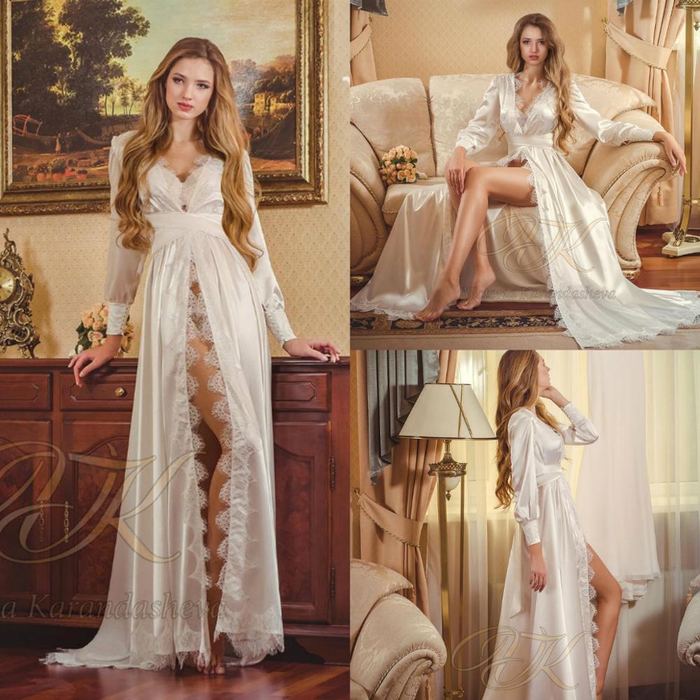 Lace Bridal Nightgown Night Dress Silk Long Sleeves Nightgown Nightdress Women Sleepwear Nightwear For Bridal Boudoir Dress