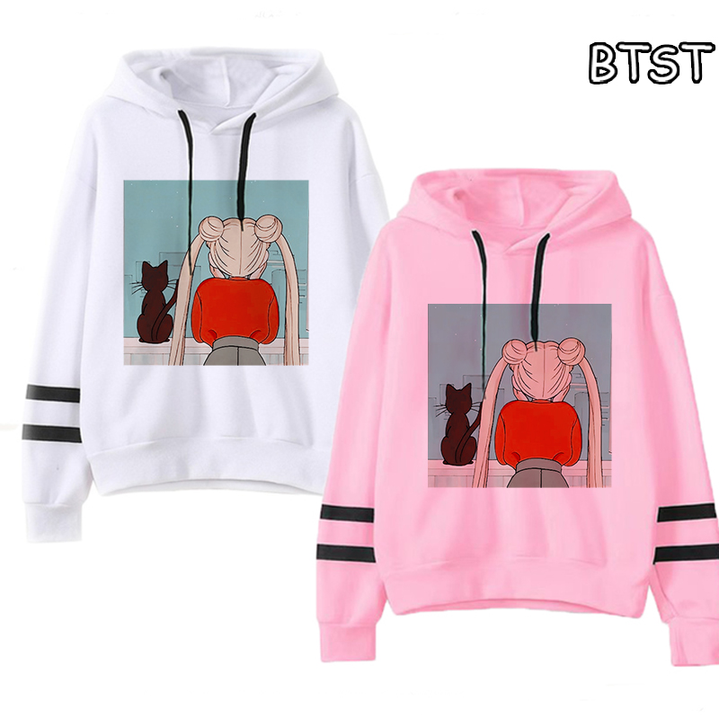 Kpop Womens Hoodies Pullover Casual Sailor Moon Hoodie Female Aesthetic Fun Sweatshirt Full Women Clothes Cute Cat Streetwear