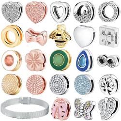 Fashion 925 Sterling Silver Beads Dazzling Round Clips Charms fit Original Pandora Reflexion Bracelets Women DIY Jewelry