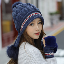 Warm-Gloves Beanie Hats Pompoms Knit Thicken Girls Winter New-Fashion Fur Hat-Set Ski-Snow-Cap