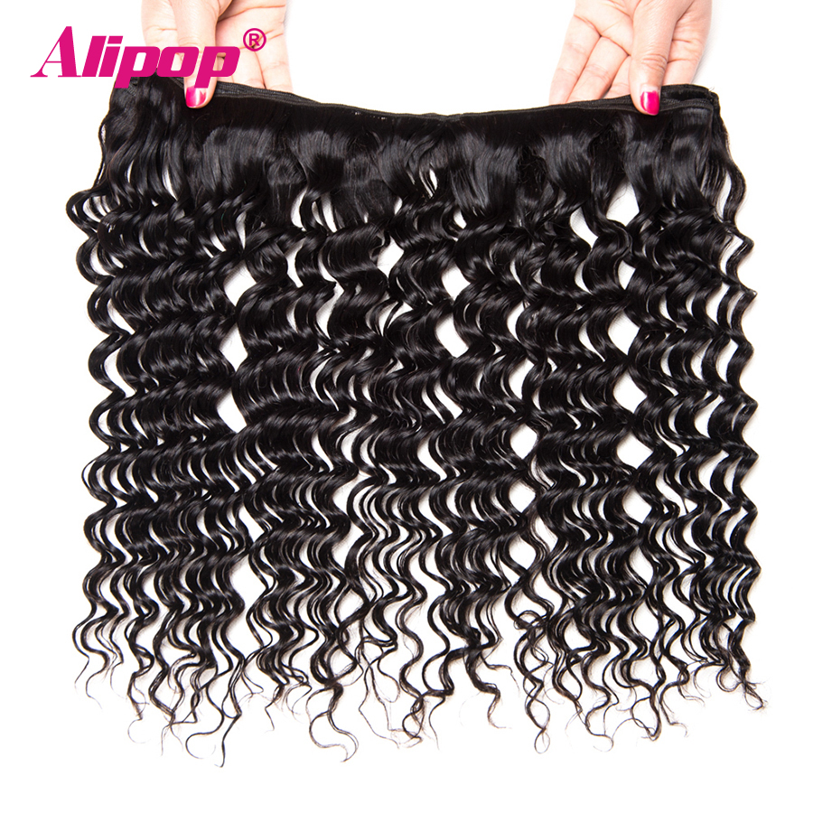 Deep Wave Bundles With Closure 3 Bundles Brazilian Hair Weave Bundles With Closure Remy Human Hair Bundles With Closure ALIPOP (3)