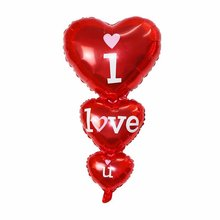 50pcs String of Baloon I Love You Happy Day big Balloons Party Decoration Heart Engagement Anniversary Wedding Valentine Ball