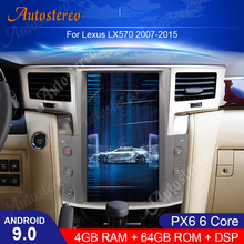 Tesla Style Vertical Screen Android 9.0 Car GPS Navigation For Lexus LX570 Auto Radio Head Unit Multimedia Player Carplay PX6 HD for mercedes benz c class w205 2015 2019 ntg original style multimedia player hd screen stereo android car gps navi map radio