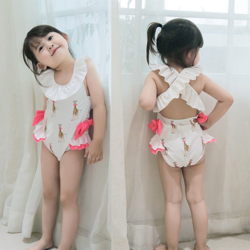 2019 New Style KID'S Swimwear INS Europe And America GIRL'S One-piece Swimming Suit Cute Baby Swimming Holiday Hot Springs Swimw