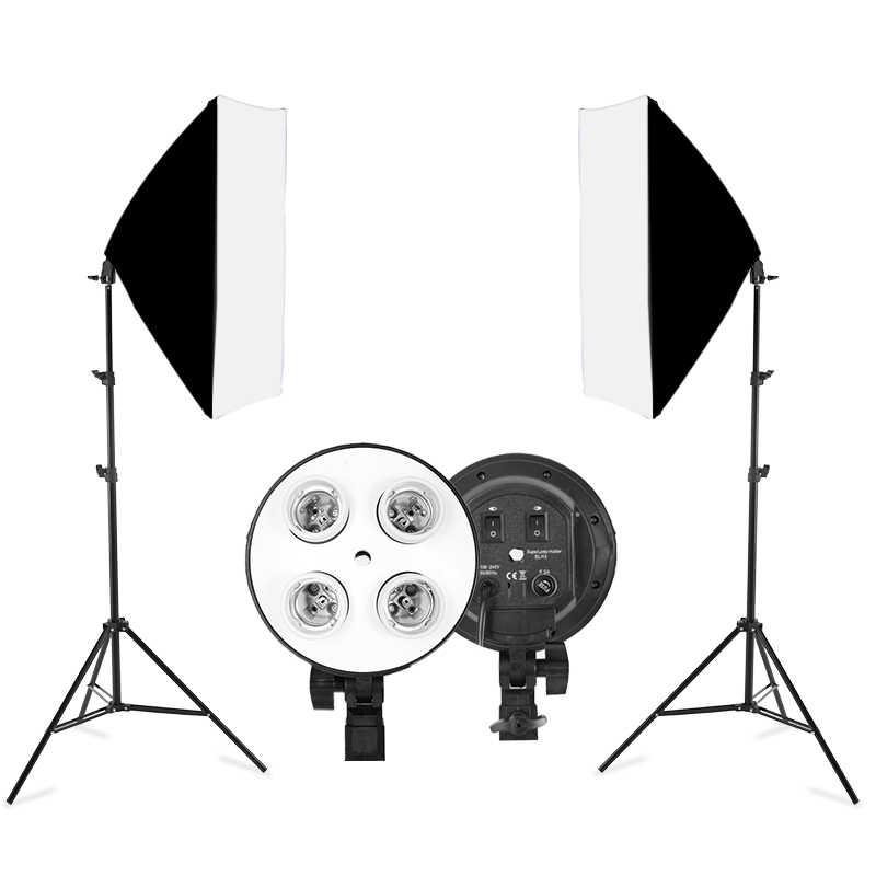 1 PC 50X70 Cm Lampu Empat Lampu Softbox Kit dengan E27 Dasar Dudukan Soft Box Aksesoris Kamera untuk photo Studio Vedio