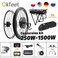 Kit de conversión de bicicleta eléctrica, con batería, Motor de rueda, 48V, 2020 W, 500W, 1000W, 36V, 1500W, 250W