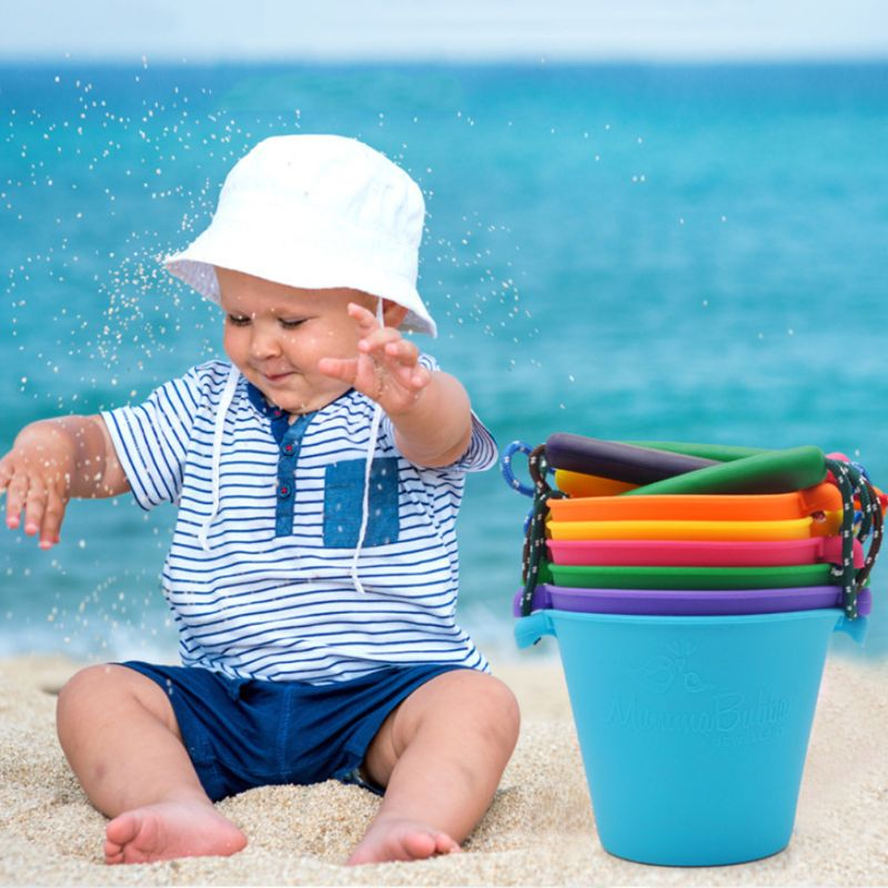 Children Baby Shower Bucket Bath Beach Toy Folding Handheld Silicone Barrel Pouring Water Sand Kids Gift Q6PD