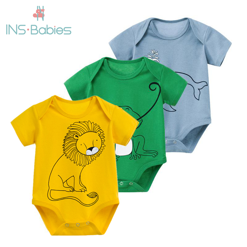 Newborn Baby Bodysuits 3pcs Pure Cotton Baby Clothes For Baby Boys Short Sleeve Summer Baby Yellow Clothes Infant Pajamas  2020