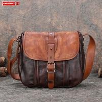 New Vintage Leather Small Shoulder Messenger Bag Women Bag Female Retro Casual Crossbody Bags Men Bag 2020 Real Genuine Leather