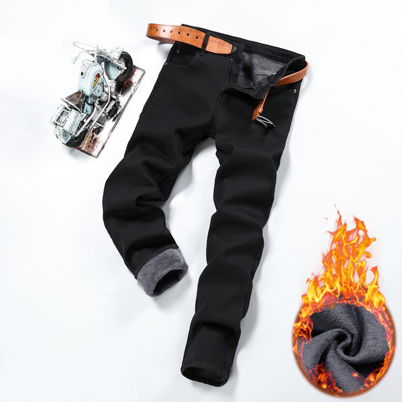 2019 Winter Brushed And Thick Jeans Men's Slim Fit Korean-style Youth Men Skinny Jeans Warm Long Pants